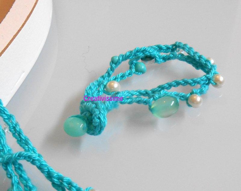 Braccialetto all'uncinetto fili color acqua marina