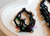 Braccialetti all'uncinetto con fili fatti a mano color nero