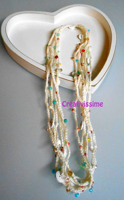 Fili Bianco Collana E Color Per Alluncinetto Perline Con Panna 66fuywx