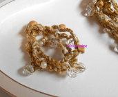 Braccialetti all'uncinetto con fili fatti a mano color beige e bianco