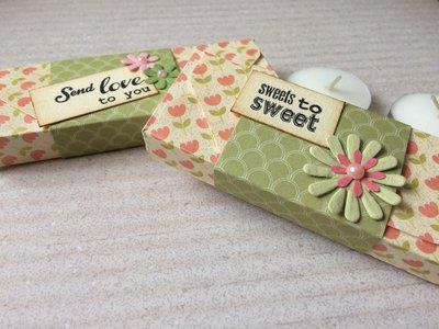 Porta confetti candele scatolina rosa con decorazioni