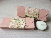 Scatola regalo candele matrimonio confettata