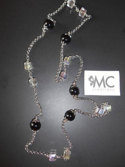 Collana lunga catena acciaio e perle