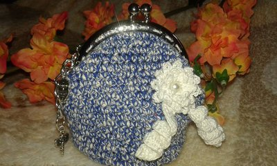 PORTAMONETE Donna homemade accessorio uncinetto manici  chiusura clic clac effetto jeans