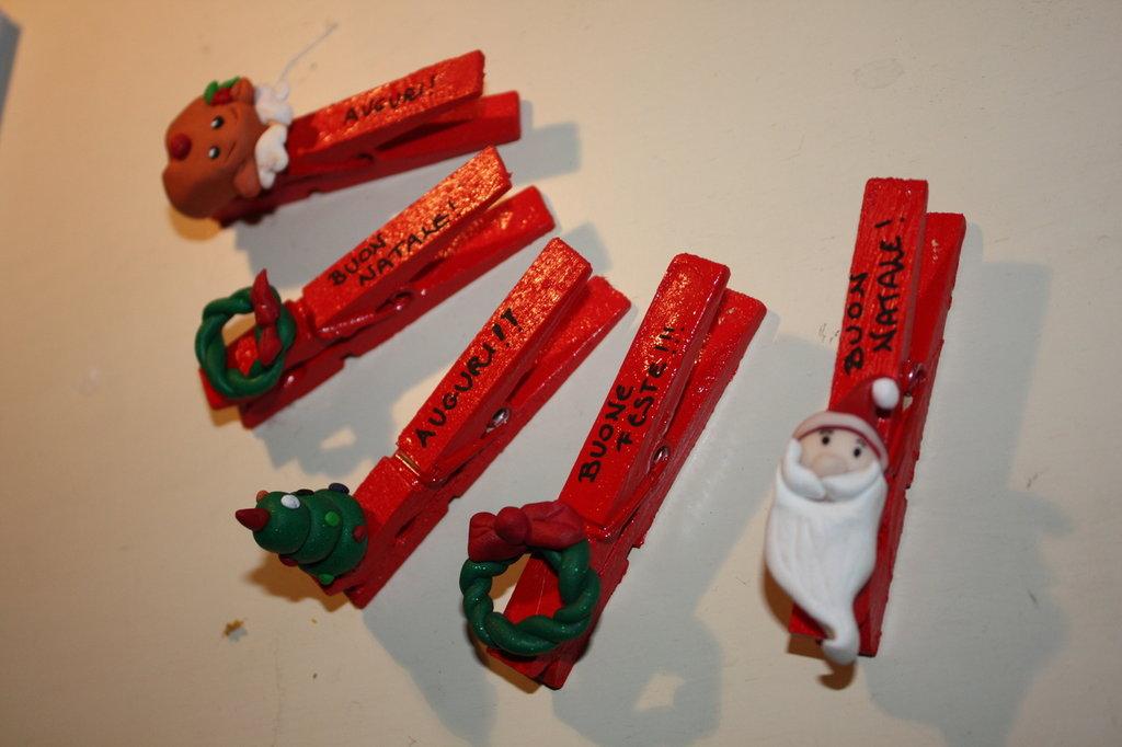Mollette Chiudipacco idea regalo Natale fimo