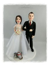 Cake topper personalizzato sposi con gatti