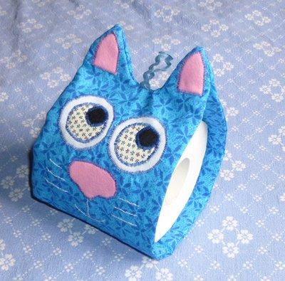 Porta rotolo (di scorta) a forma di gatto blu