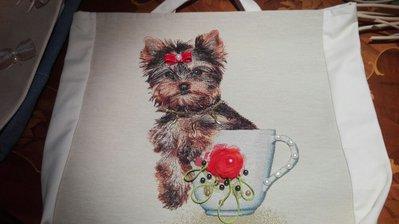 borsa in tessuto soggetto cane