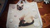 borsa in tessuto soggetto gatto