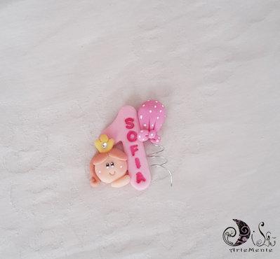 Bomboniera calamita primo compleanno principessa numero e nome personalizzabile con palloncino a pois