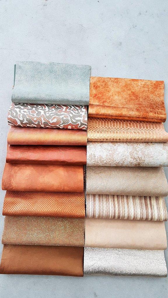 15 Pezzi di pelle del nostro stock di pellami di fantasia, 22 cm x 27 cm B32
