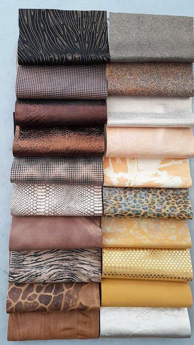20 Pezzi di pelle del nostro stock di pellami di fantasia, 22 cm x 27 cm B35