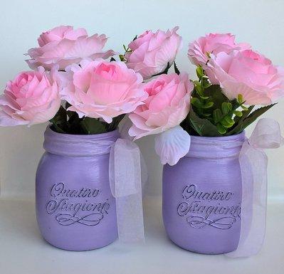 Coppia vasi decorativi vetro Quattro Stagioni lilla con fiori rosa