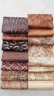 15 Pezzi di pelle del nostro stock di pellami di fantasia, 22 cm x 27 cm B36