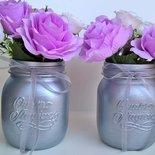 Coppia vasi decorativi Quattro Stagioni argento con fiori