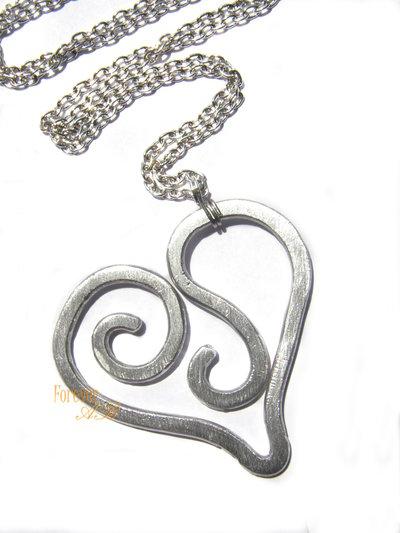 Collana Ciondolo Cuore alluminio idea regalo donna ragazza amica
