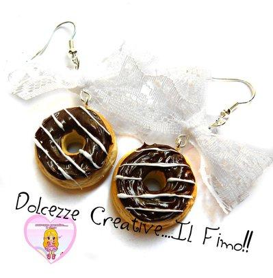 Orecchini Donut - Ciambelle al cioccolato con fiocchetto in merletto - kawaii