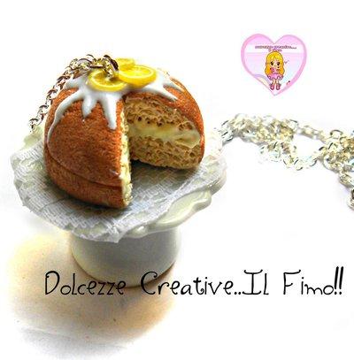 Collana Alzatina con torta al limone glassata - cake - miniature idea regalo