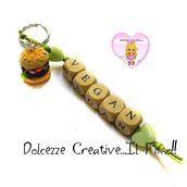 Portachiavi Vegan - Vegano - Hamburger veg - miniature kawaii idea regalo