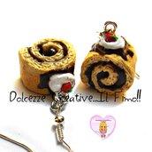 Orecchini girelle al cioccolato con panna e ciliegie - miniature kawaii handmade