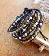 Bracciale cuoio donna con pietre dure, Chan Luu bohemian, perle di diaspro, bracciale avvolgente