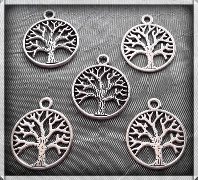 5 charms ciondoli 'Albero della vita' argento tibetano