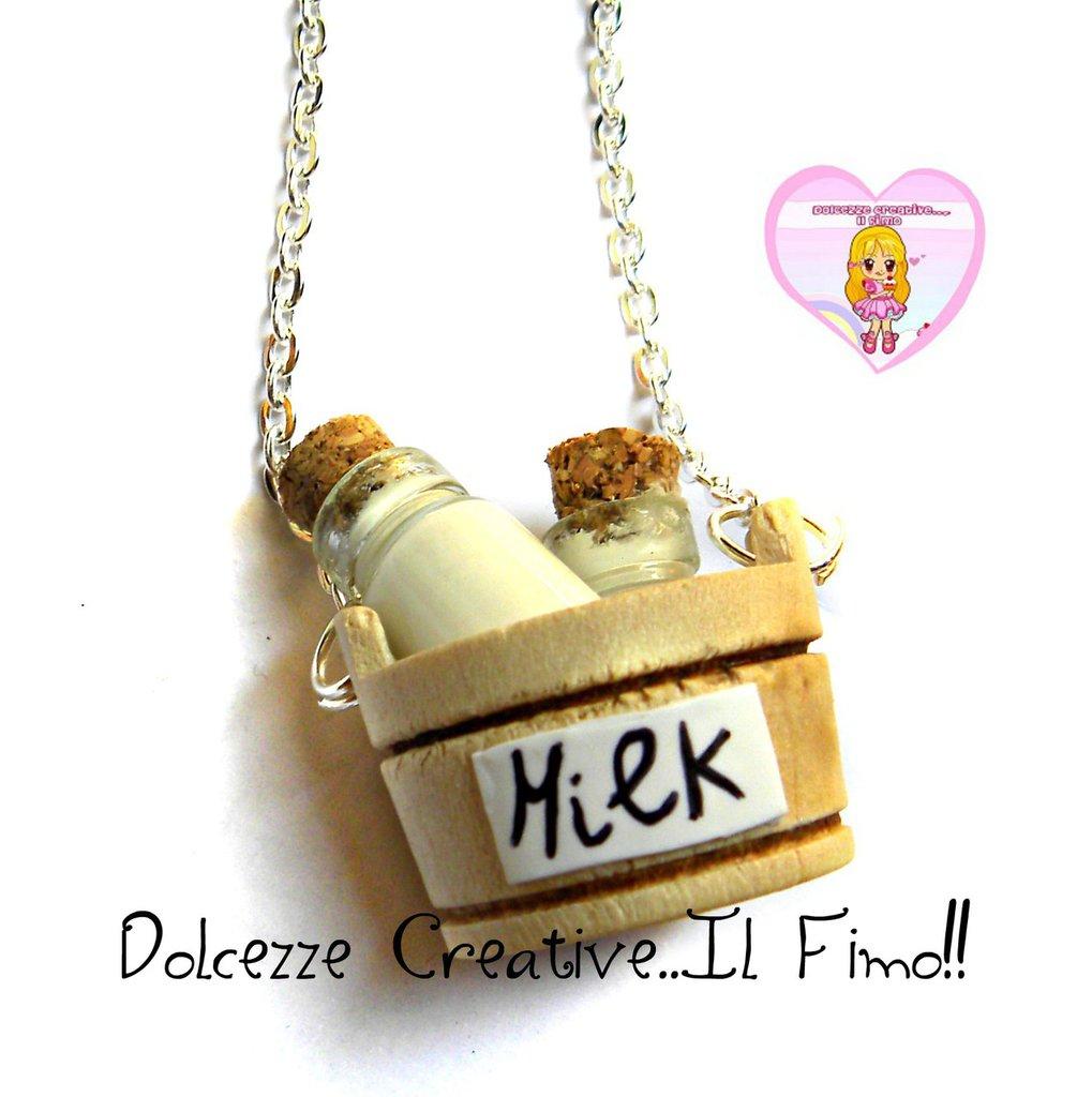 Collana Bottiglie di latte! Miniature kawaii handmade - idea regalo - dollhouse