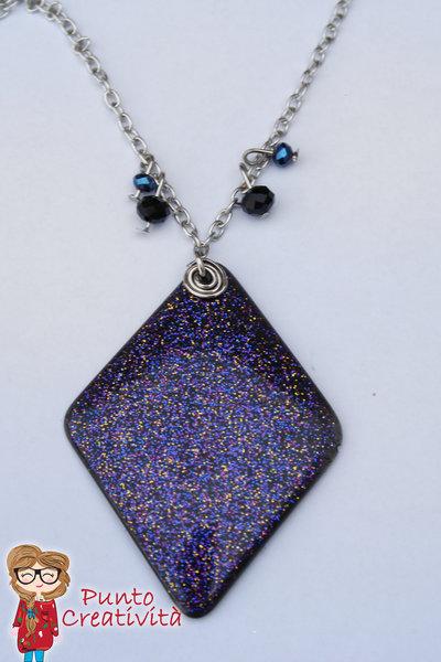 Collana rombo galaxy in resina
