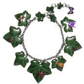BRACCIALE EDERA - realizzato artigianalmente con foglie di edera serigrafate e farfalline, lumache, bruchi, api e coccinelle.
