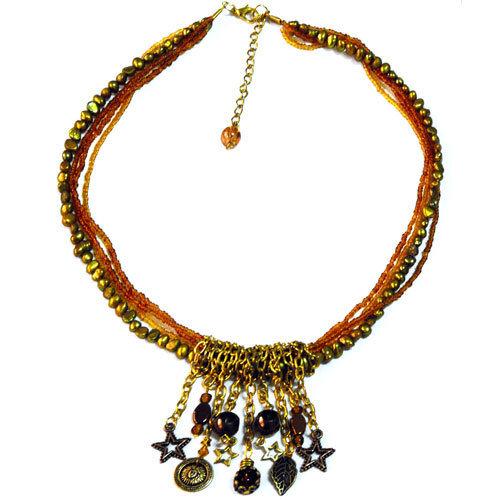 Collana toni ORO con perle e charms