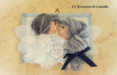 Quadretto bamboline fatina e folletto innamorati