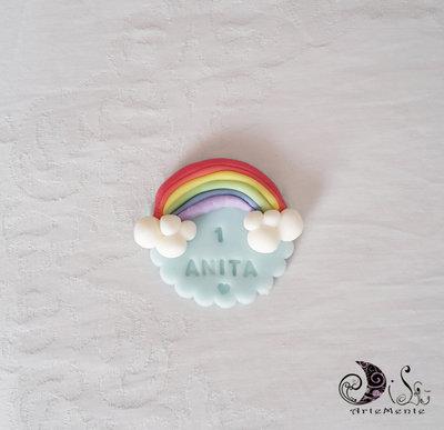Bomboniera arcobaleno calamita primo compleanno bimba e bimbo personalizzabile con nome