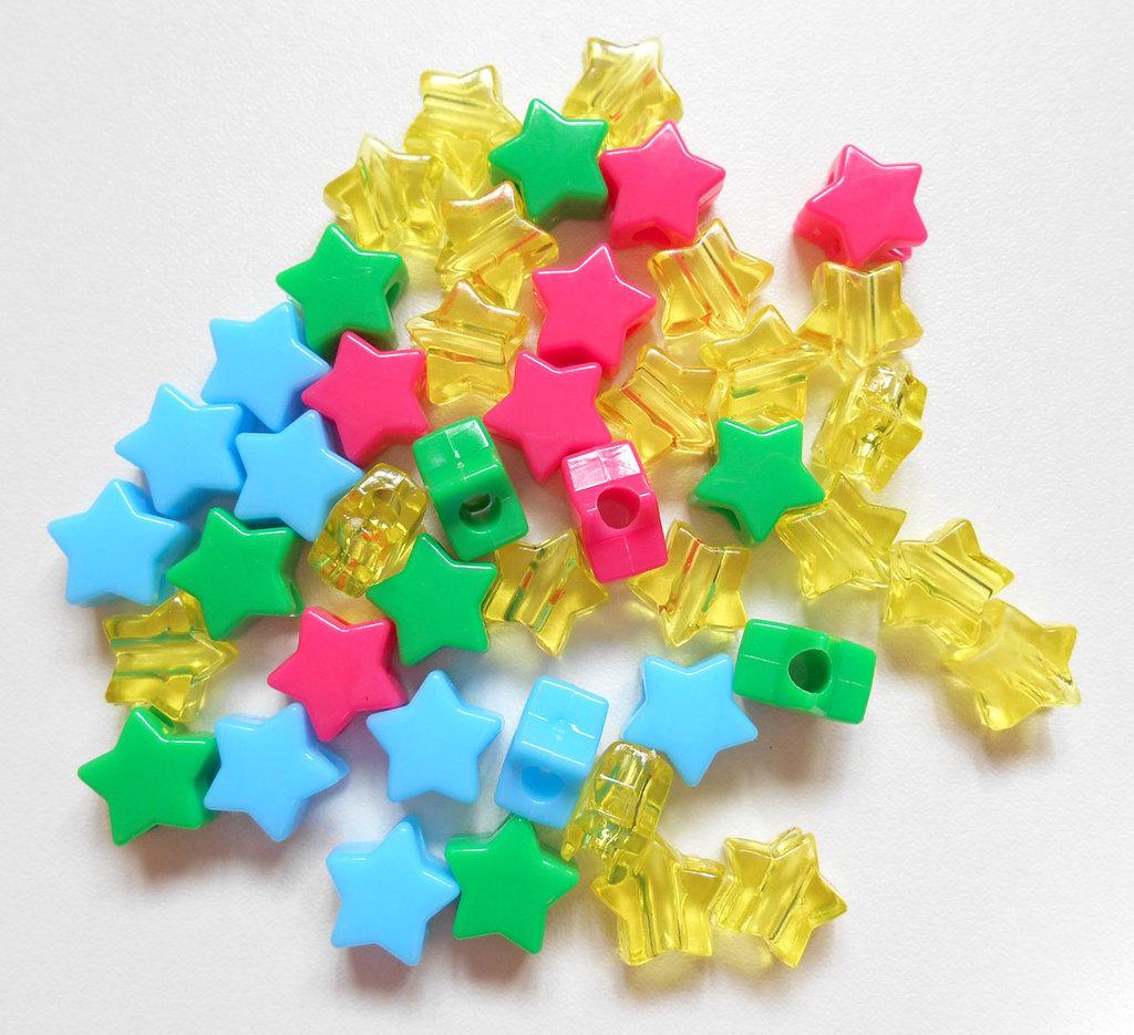 Lotto 45 perline a stella vari colori