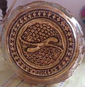 Vecchia formella in vetro di Murano e foglia d'oro