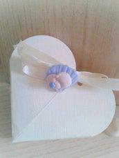 Bomboniera piedini bimbo con conchiglia nascita battesimo