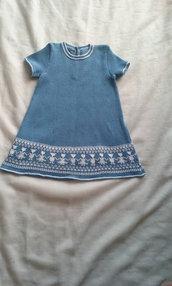 vestito abito bimba cotone maglia cleste