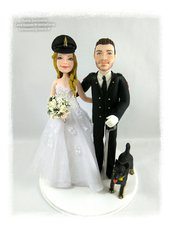 Cake topper sposo in divisa e cane