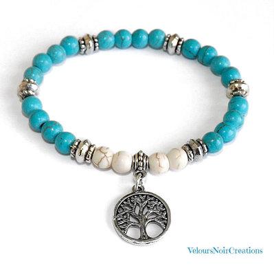 Bracciale elastico pietre turchesi e albero della vita