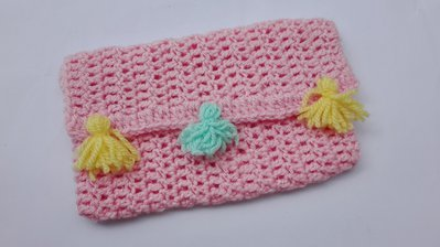 Pochette rosa lana