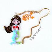 """Segnalibro """"Sirena"""" realizzato con perline Miyuki delica"""