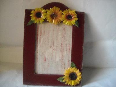 Cornice portafoto  portaritratto bordeaux con girasoli in 3d