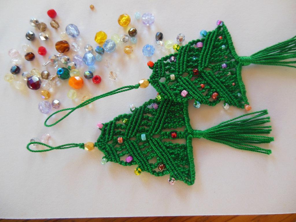 Mini albero di Natale a macramè -  2 pezzi