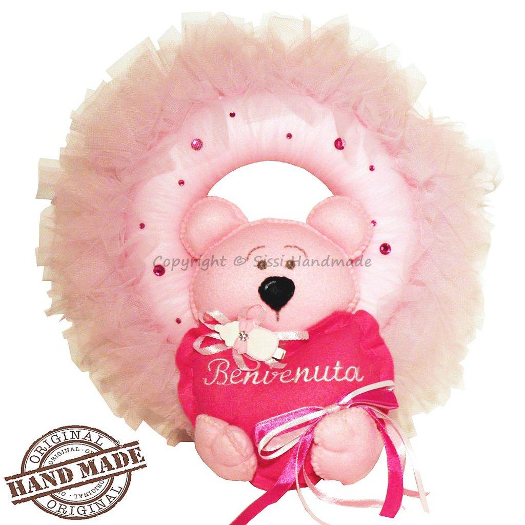 Fiocco nascita ghirlanda con orsetto rosa in pannolenci
