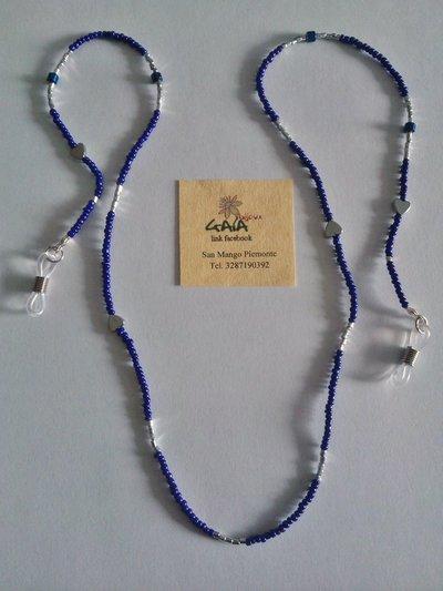 Cordicella per occhiali in vetro, viola e argento
