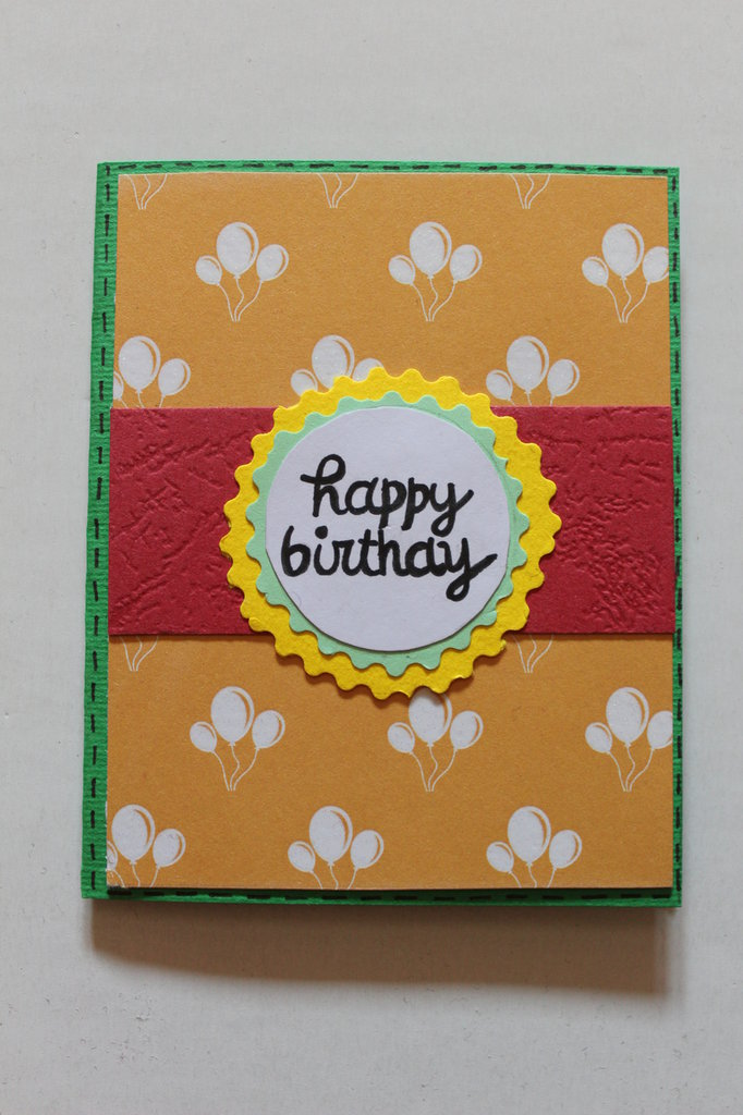 Biglietto Auguri Compleanno - Palloncini Arancioni