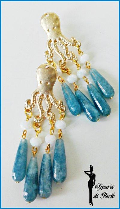 Orecchini-chandelier con gocce in agata, cristalli e polipo - AVIO/BIANCO/ORO