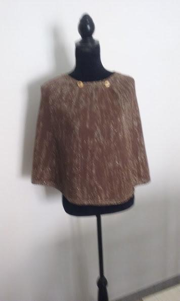 mantella donna maglia lana marrone oro