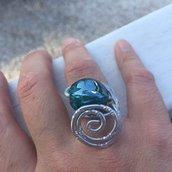 anello wire con biglia in vetro