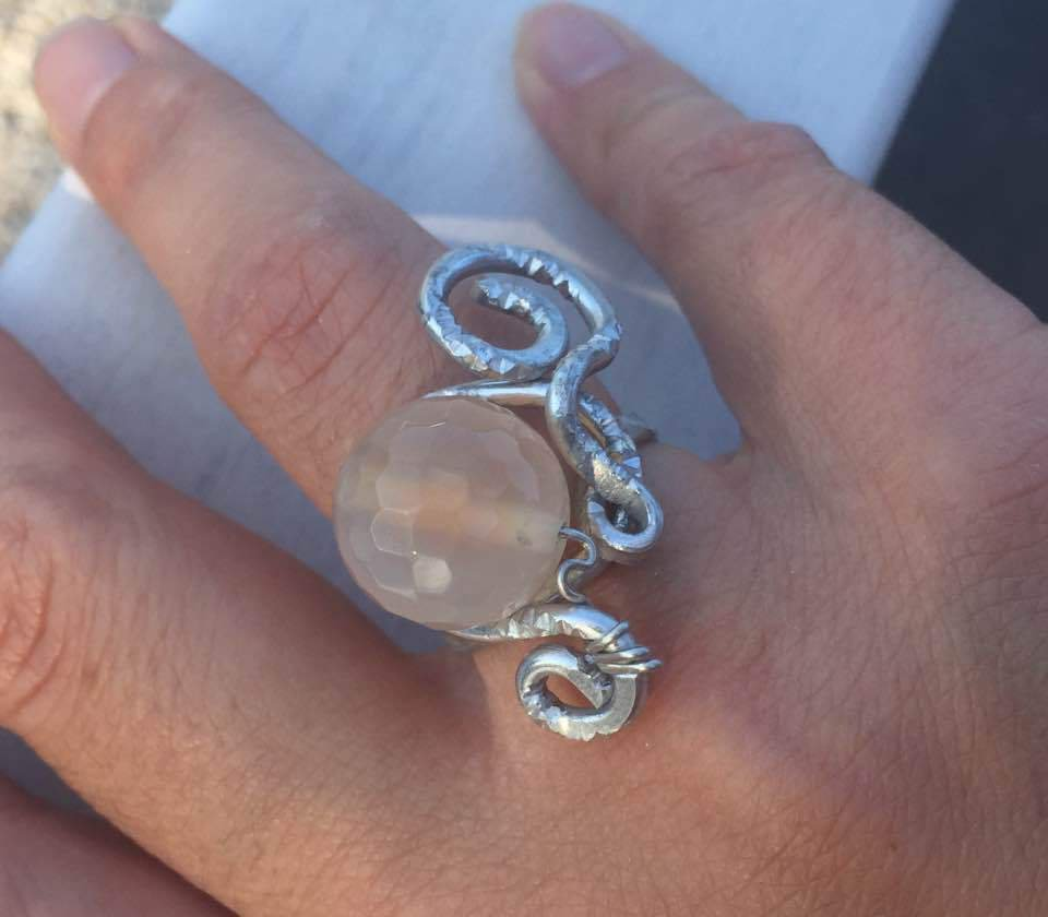 anello tecnica wire con pietra di agata