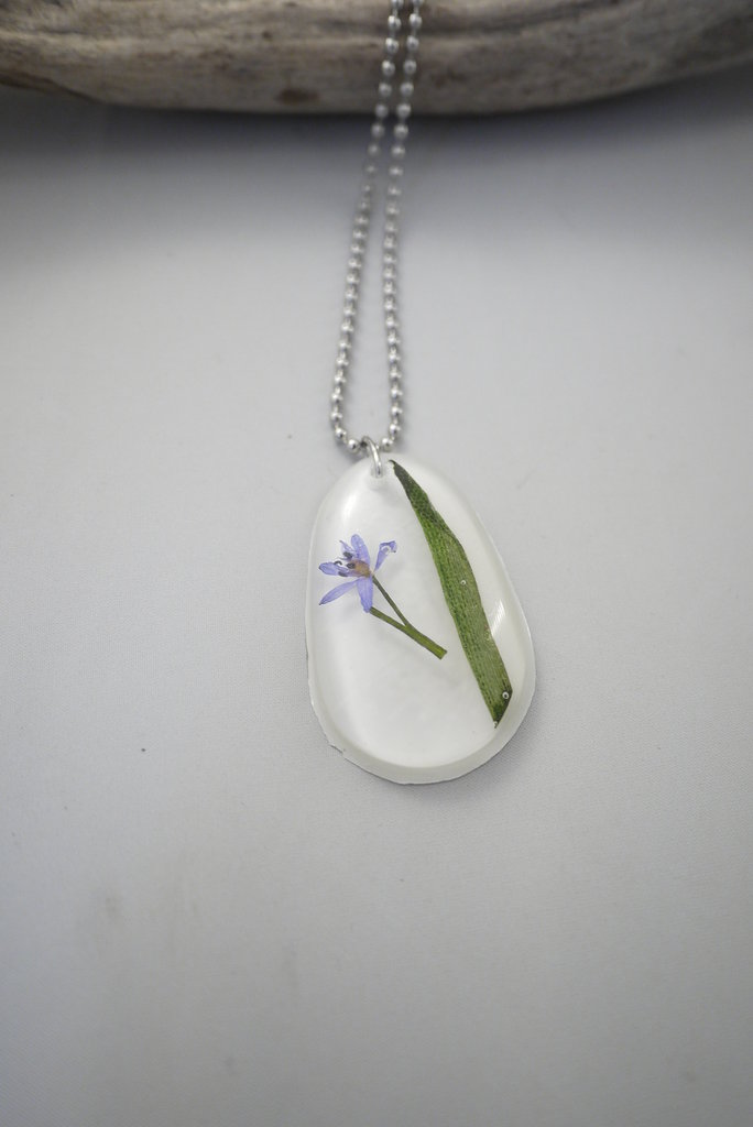 Natura in Resina - Fiori Viola con Foglia -